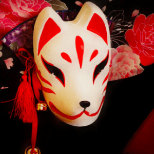 Hand Painted Kitsune Mask