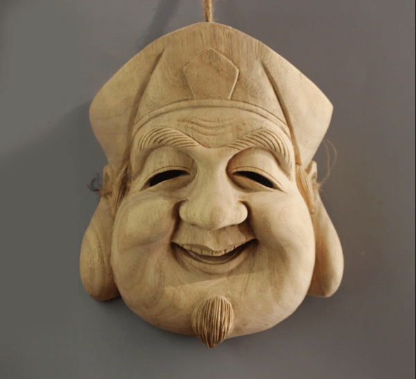 kyogen Daikoku Wooden Mask for Wall Decoration