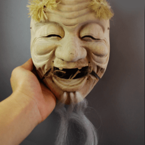 Okina Omen Japanese Mask with Wood carving