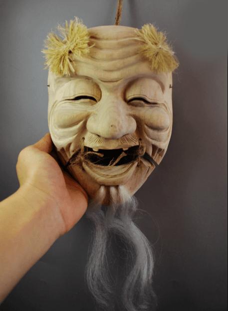 Okina Omen Japanese Mask with Wood carving