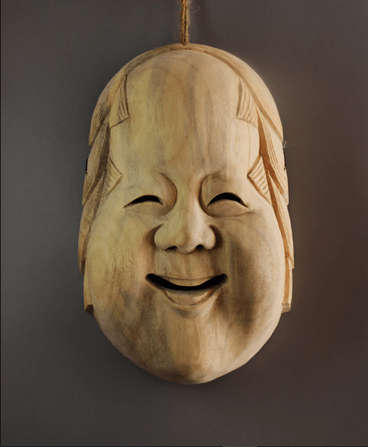 Okame Wooden Decorative Mask