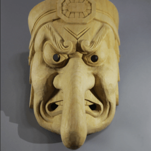 Tengu Wooden Mask Sculpture