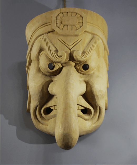 Tengu Wooden Mask Sculpture