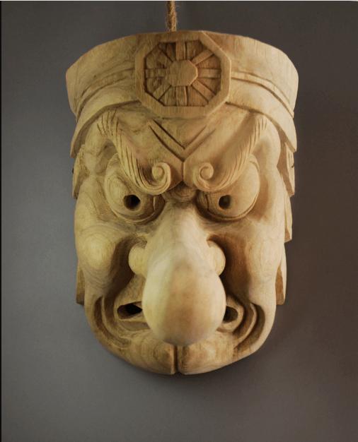 Japanese Tengu Devil Wooden Mask