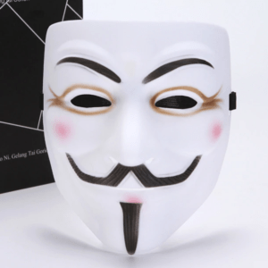 White guy fawks cosplay mask with eye liner
