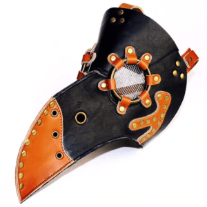 black and brown plague mask