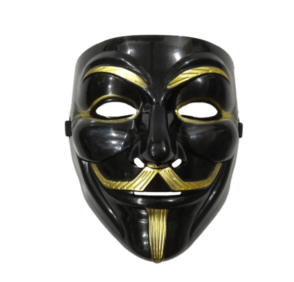 black and golden guy fawks mask with eye liner