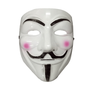 white guy fawks cosplay mask